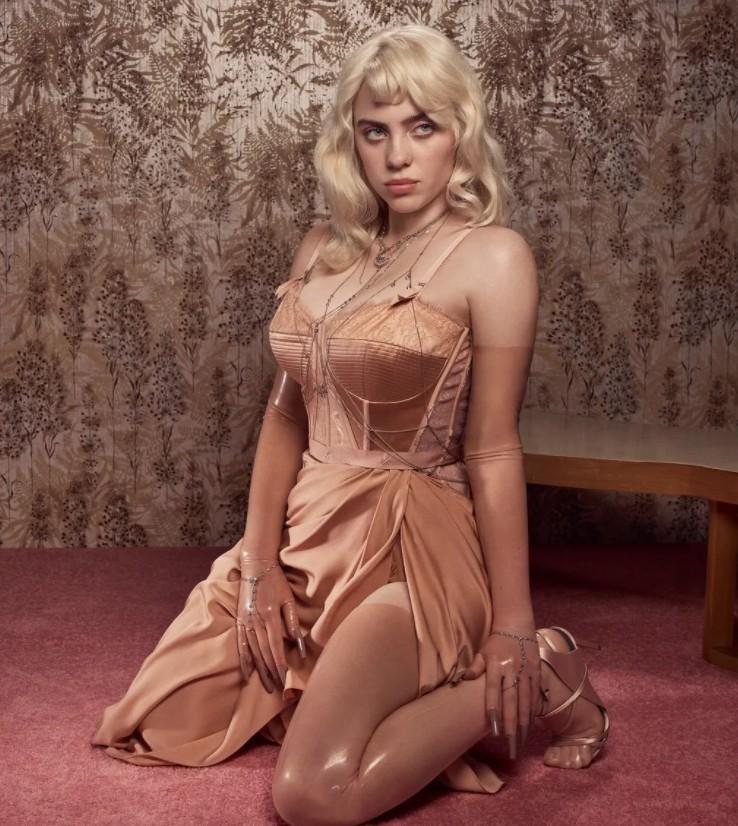 billie eilish posing in silk (1)